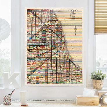 Glasbild - Moderne Karte von Chicago - Hochformat 4:3