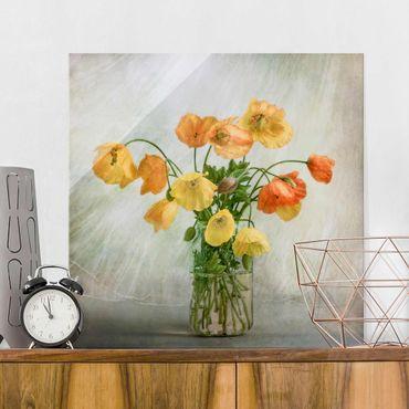 Glasbild - Mohnblumen in einer Vase - Quadrat 1:1