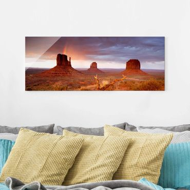 Glasbild - Monument Valley bei Sonnenuntergang - Panorama Quer