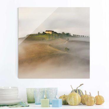 Glasbild - Morgennebel in der Toskana - Quadrat 1:1