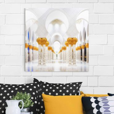 Glasbild - Moschee in Gold - Quadrat 1:1