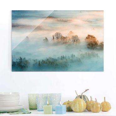Glasbild - Nebel bei Sonnenaufgang - Querformat 2:3