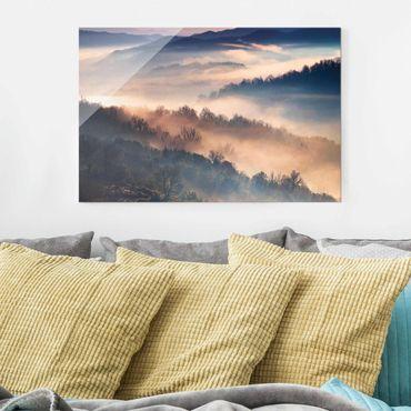 Glasbild - Nebel bei Sonnenuntergang - Querformat 2:3