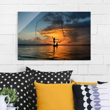 Glasbild - Netz im Sonnenuntergang - Quer 3:2