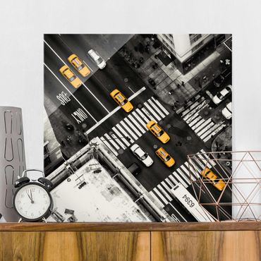 Glasbild - New York City Cabs - Quadrat 1:1