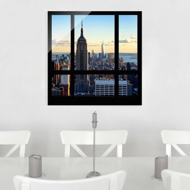 Glasbild - New York Fensterblick auf Empire State Building - Quadrat 1:1