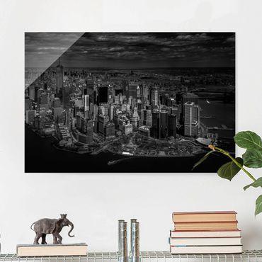 Glasbild - New York - Manhattan aus der Luft - Querformat 2:3