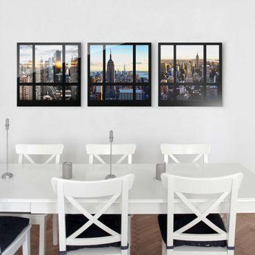 Glasbild mehrteilig - Fensterblicke über New York 3-teilig