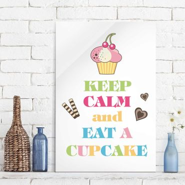 Glasbild - No.EV71 Keep Calm And Eat A Cupcake Bunt - Hoch 2:3