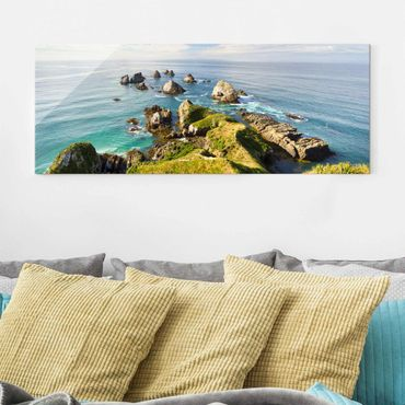 Glasbild - Nugget Point in Neuseeland - Panorama
