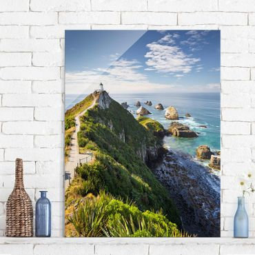 Glasbild - Nugget Point Leuchtturm und Meer Neuseeland - Quadrat 1:1