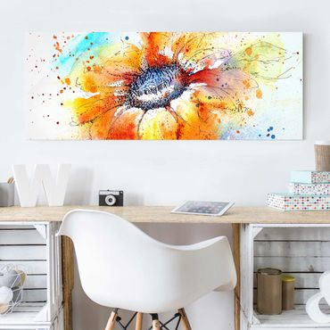Glasbild - Painted Sunflower - Panorama Quer