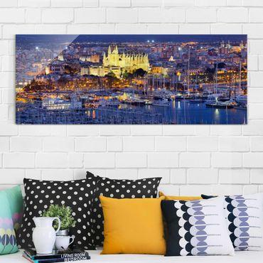 Glasbild - Palma de Mallorca City Skyline und Hafen - Panorama Quer