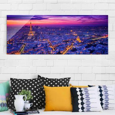 Glasbild - Paris bei Nacht - Panorama