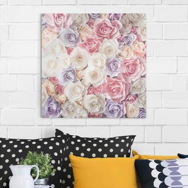 Glasbild - Pastell Paper Art Rosen - Quadrat 1:1 - Blumenbild Glas