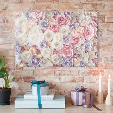 Glasbild - Pastell Paper Art Rosen - Quer 3:2 - Blumenbild Glas