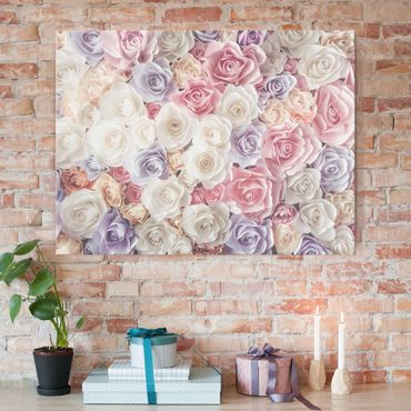 Glasbild - Pastell Paper Art Rosen - Quer 4:3 - Blumenbild Glas
