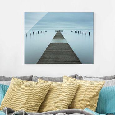 Glasbild - Pier in Schweden - Querformat 3:4