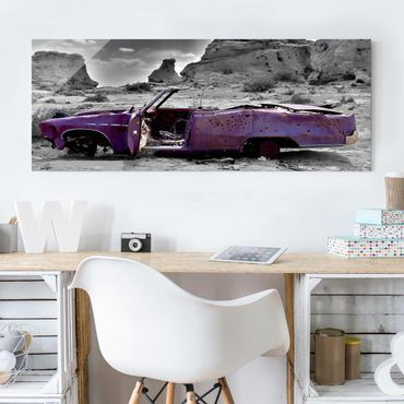 Glasbild - Pink Cadillac - Panorama Quer