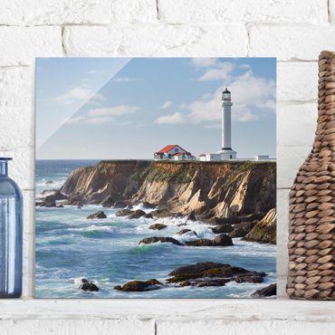 Glasbild - Point Arena Lighthouse Kalifornien - Quadrat 1:1