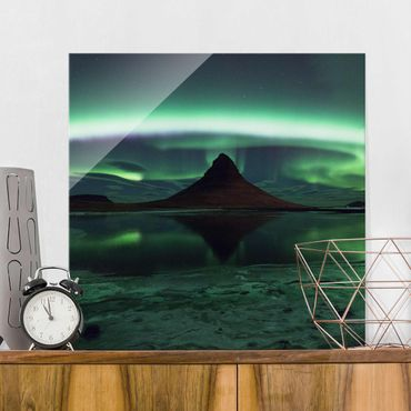 Glasbild - Polarlicht in Island - Quadrat 1:1