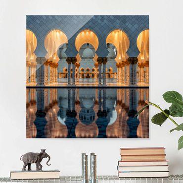 Glasbild - Reflexionen in der Moschee - Quadrat 1:1