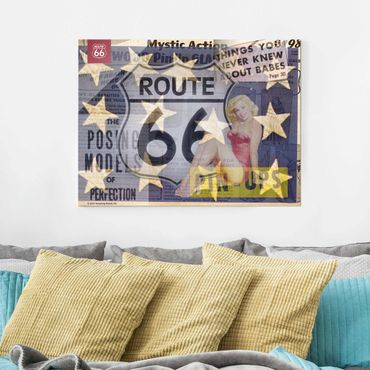 Glasbild - Route 66 - Pin-Up Posing - Querformat 3:4