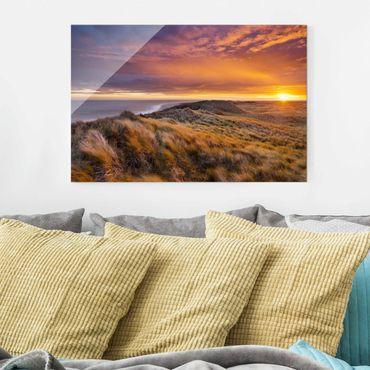 Glasbild - Sonnenaufgang am Strand auf Sylt - Quer 3:2