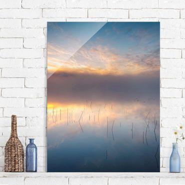 Glasbild - Sonnenaufgang schwedischer See - Hochformat 4:3