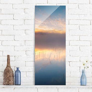 Glasbild - Sonnenaufgang schwedischer See - Panel