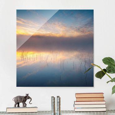 Glasbild - Sonnenaufgang schwedischer See - Quadrat 1:1