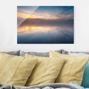 Glasbild - Sonnenaufgang schwedischer See - Querformat 2:3