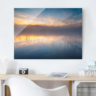 Glasbild - Sonnenaufgang schwedischer See - Querformat 3:4