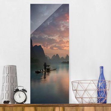 Glasbild - Sonnenaufgang über chinesischem Fluss - Panel