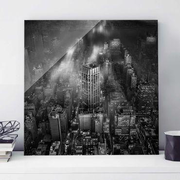 Glasbild - Sonnenlicht über New York City - Quadrat 1:1
