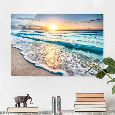 Glasbild - Sonnenuntergang am Strand - Querformat 3:2