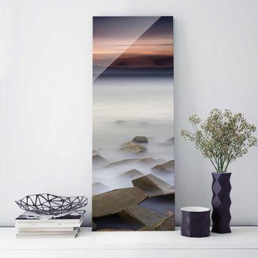 Glasbild - Sonnenuntergang im Nebel - Panel