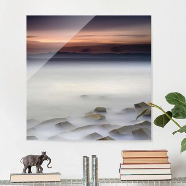 Glasbild - Sonnenuntergang im Nebel - Quadrat 1:1
