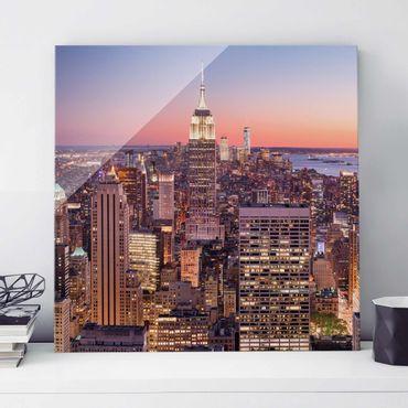 Glasbild - Sonnenuntergang Manhattan New York City - Quadrat 1:1