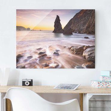 Glasbild - Spanischer Strand bei Sonnenaufgang - Quer 4:3