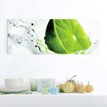 Glasbild - Splash Lime - Panorama Quer