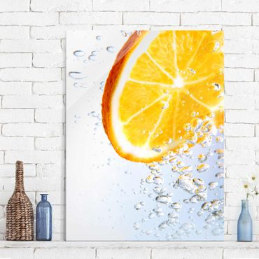 Glasbild - Splash Orange - Hoch 3:4
