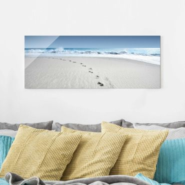 Glasbild - Spuren im Sand - Panorama Quer