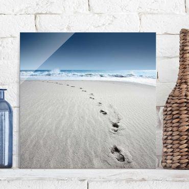Glasbild - Spuren im Sand - Quadrat 1:1