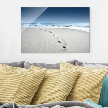 Glasbild - Spuren im Sand - Quer 3:2