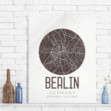 Glasbild - Stadtplan Berlin - Retro - Hochformat 4:3