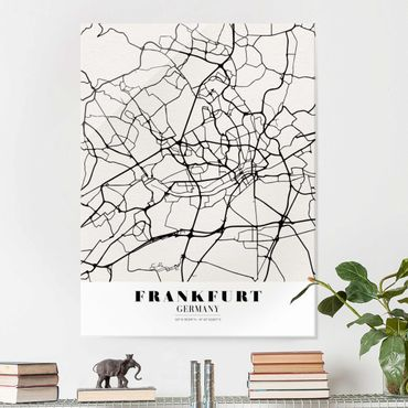 Glasbild - Stadtplan Frankfurt - Klassik - Hochformat 4:3