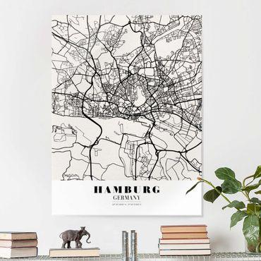 Glasbild - Stadtplan Hamburg - Klassik - Hochformat 4:3