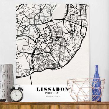 Glasbild - Stadtplan Lissabon - Klassik - Hochformat 4:3
