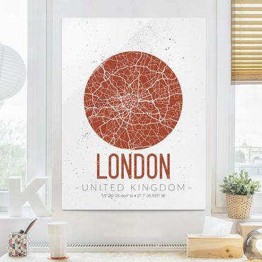 Glasbild - Stadtplan London - Retro - Hochformat 4:3